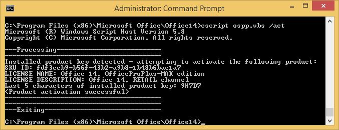 Cscript Microsoft Office ospp.vbs
